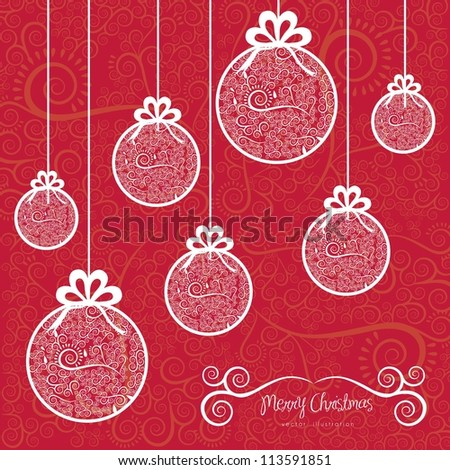 Christmas balls hanging on, with arabesques, vector illustration