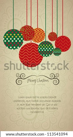 Christmas balls hanging on, with dots and color lines, vector illustration