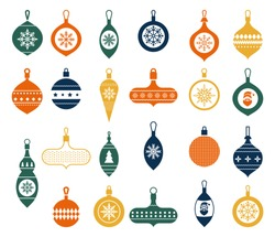 Christmas balls in a flat style on a white background. Modern hand drawn baubles. Vector illustration. Christmas Clip Art. Collection of beautiful baubles and decorations for Christmas tree.