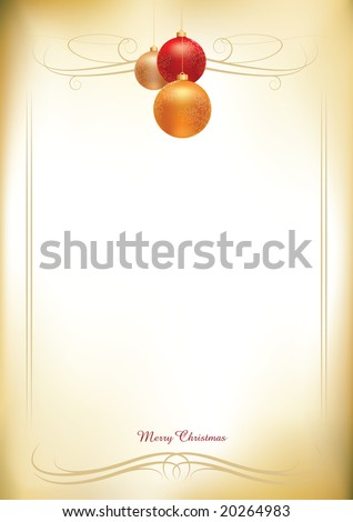 christmas balls on old paper background