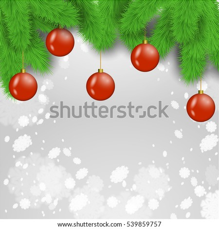 Christmas balls on the fir tree branches with the grey snowflakes background. Stock vector. #539859757