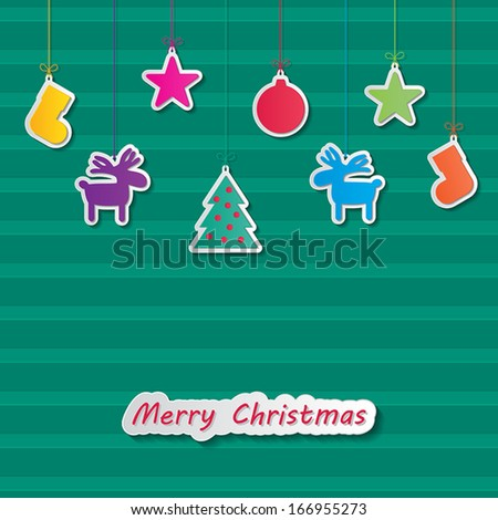 christmas balls, rein deers, socks, christmas tree and stars hanging on green stripes background. vector.