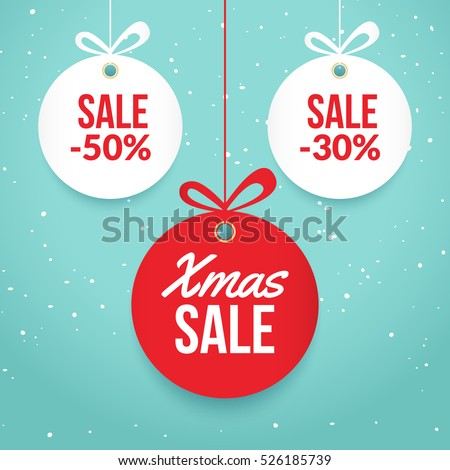 Christmas balls sale. Special offer vector tag. New year holiday card template. Shop market poster design.