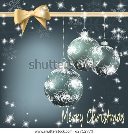 Christmas balls with bow and ribbon background. Vector eps10 illustration - stock vector