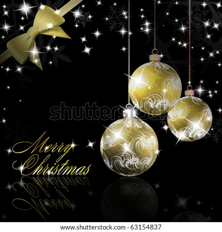 Christmas balls with bow and ribbon background. Vector eps10 illustration