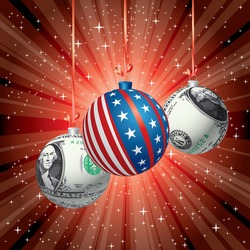 Christmas balls with dollar and USA flag texture, vector red starburst background for  Christmas sales