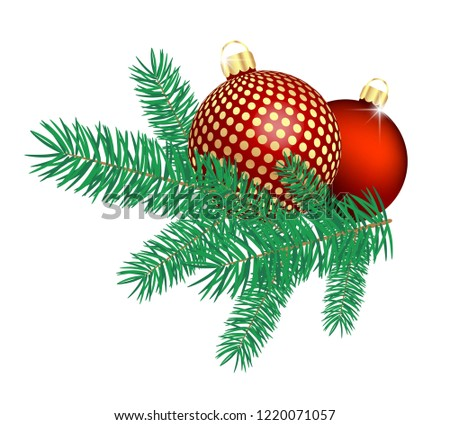 Christmas balls with pine tree branches.
