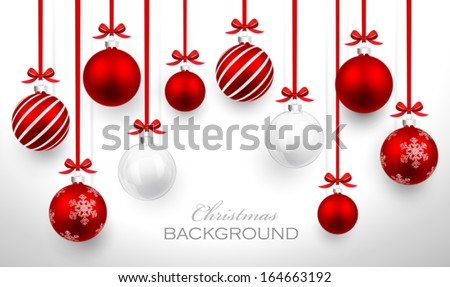 christmas balls with red ribbon ...
