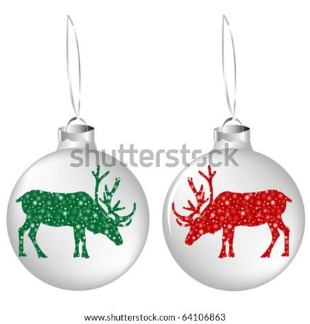 Christmas balls with reindeer - stock vector