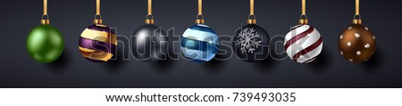 Christmas Balls with Shadows on dark background. Vector illustration