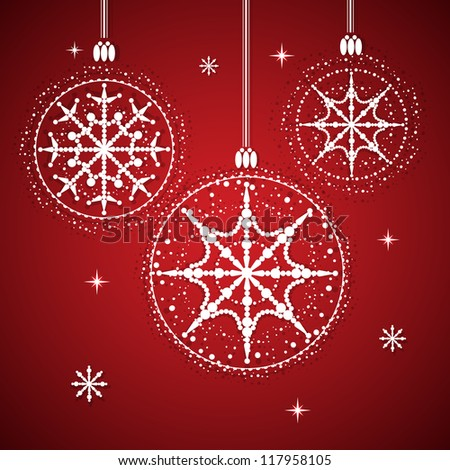 Christmas balls with snowflakes  Christmas background with balls and snowflakes. vector illustration.