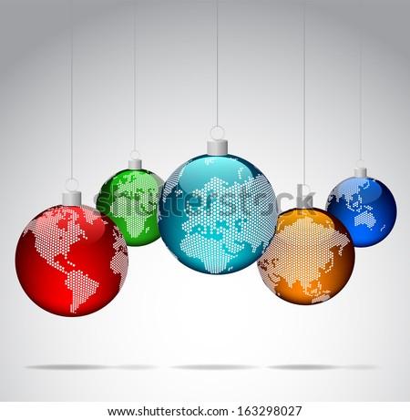christmas balls with world