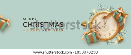 Christmas banner. Background Xmas design of realistic blue gift box, old vintage clock with bright glowing garlands, ornament snowflake. Horizontal new year poster, greeting card, headers for website