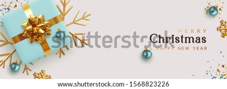 Christmas banner. Background Xmas design of realistic blue gifts box, golden 3d render snowflake and glitter gold confetti, bauble ball. Horizontal christmas poster, greeting card, headers for website