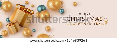 Christmas banner. Background Xmas design of realistic brown gift box, 3d render blue and golden bauble ball and glitter gold confetti. Horizontal christmas poster, greeting card, headers for website