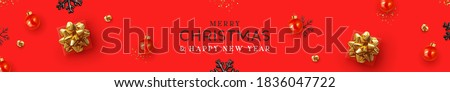 Christmas banner. Background Xmas design of realistic gift box, red ball, black snowflake. Horizontal Christmas header for website template, flat top view. Festive new year placard vector illustration