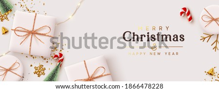 Christmas banner. Background Xmas design of realistic white gift box, 3d render decorative holiday objects, Horizontal poster, greeting card, headers for website. Merry Christmas and Happy New Year.