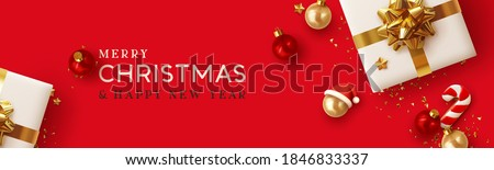 Christmas banner. Background Xmas design of realistic white gifts box, 3d cane candy cookie, red bauble balls, golden glitter confetti. Horizontal christmas poster, greeting card, headers for website