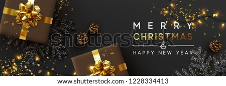 Christmas banner. Background Xmas design of sparkling lights garland, with realistic gifts box, black snowflake and glitter gold confetti. Horizontal christmas poster, greeting cards, headers, website