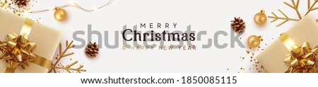 Christmas banner. Background Xmas design of sparkling lights garland, with realistic gifts box, golden snowflake and glitter gold confetti. Horizontal christmas poster, greeting cards, headers website