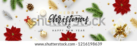 Christmas banner. Background Xmas objects viewed from above. Text Merry Christmas and happy New Year.  Festive realistic 3d render objects. Concept flat view composition. Vector illustration