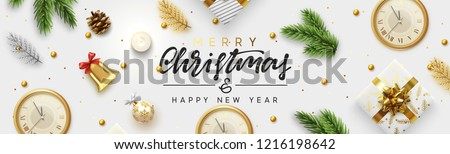Christmas banner. Background Xmas objects viewed from above. Text Merry Christmas and happy New Year