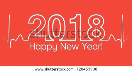 christmas banner 2018 happy new year vector 2018 style wave of cardiogram the