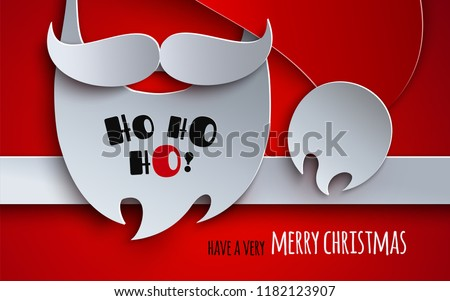 Christmas banner, holiday design. Red background with 3d paper cutout hat, mustache, beard of Santa Claus. Text have a very merry christmas under ribbon. Paper cut out craft style, vector illustration
