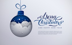 Christmas banner paper Xmas tree toy decoration with snowflakes, snow, text Merry Christmas and blue background for greeting card, poster, paper cut out style, vector illustration