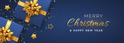 Christmas banner. Realistic blue gift boxes with golden bow, gold stars and glitter confetti. Xmas background, horizontal christmas poster, greeting cards, headers website. Vector illustration.