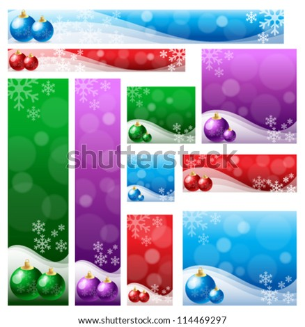 Christmas banner set in various color & size