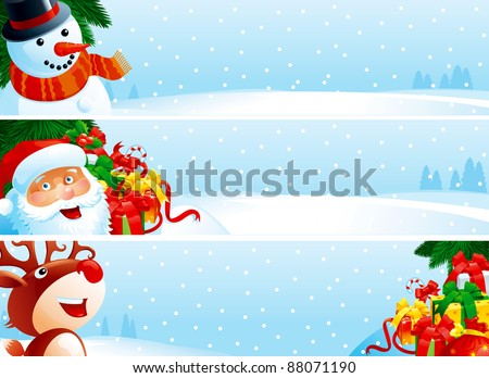 Christmas banner. Vector banners with Santa Claus, snowman, Reindeer, branches of fir tree and many gift boxes on winter snow landscape for christmas.