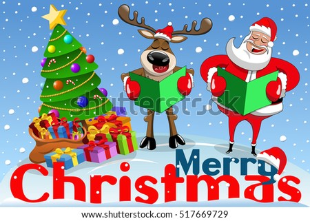 christmas banner with cartoon