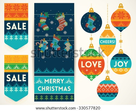 Christmas banner with holiday socks, holiday Christmas balls, and sale elements in knitting style. Creative vector set