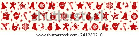 Christmas banner with icons. Vector.