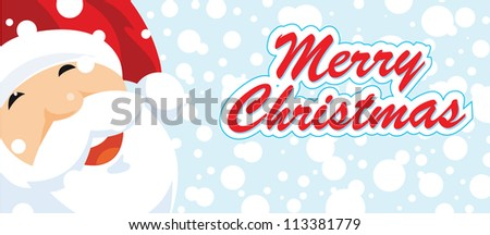 christmas banner with smailing santa portrait