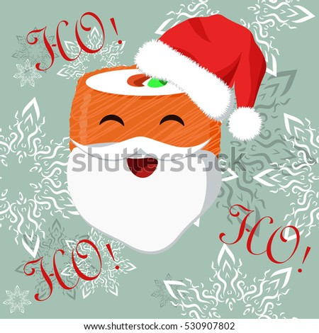 Christmas banner with sushi image for quality and cheerful mood and greeting customers of cafes, restaurants, sushi lovers or children