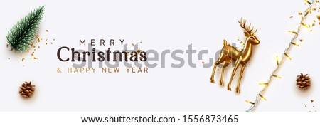 Christmas banner. Xmas Background with realistic objects, Gold Metal Deer, decorative green pine, bright light garland. New Year's traditional decorations. Horizontal poster, header, website.