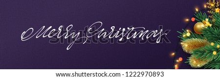 Christmas banner. Xmas festive objects of the composition. Horizontal christmas posters, cards, headers, website. #1222970893