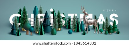 Christmas banner. Xmas Horizontal composition made of green wooden and glass Christmas trees and silver reindeer. Christmas poster, greeting cards, header or profile cover.