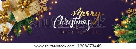 Christmas banner, Xmas sparkling lights garland with gifts box and golden tinsel. Horizontal christmas posters, cards, headers, website. #1208673445