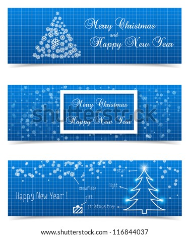 Christmas banners on blueprint background. Vector illustration.