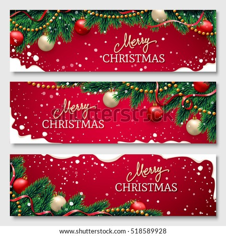 stock-vector-christmas-banners-set-with-fir-branches-decorated-with-ribbons-red-and-gold-balls-and-garlands