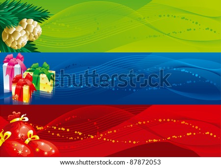 Christmas banners -1. Vector set of christmas banners with gift boxes, bags and fir cones and branches - stock vector