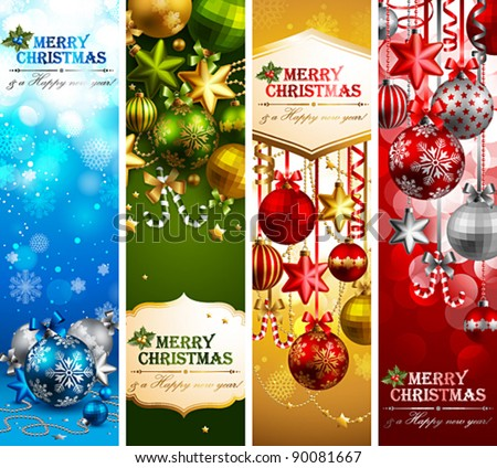 Christmas banners with baubles and place for text. Vector illustration.