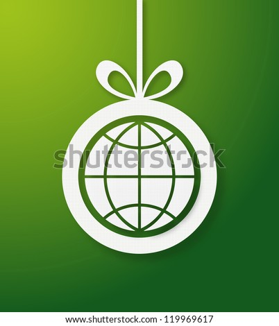 Christmas bauble in green background with world icon. Vector illustration layered for easy manipulation and custom coloring.