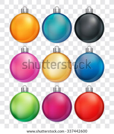 Christmas baubles in various colors.
