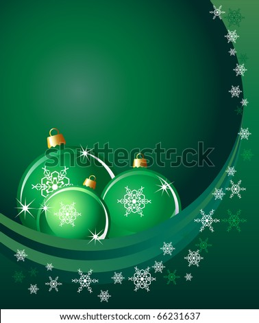 Christmas baubles on abstract background with snowflakes. Space for your text. EPS10 vector format.