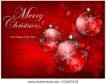 Christmas baubles with snowflake on red background & text, vector illustration