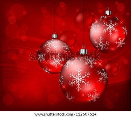 Christmas baubles with snowflake on red background, vector illustration